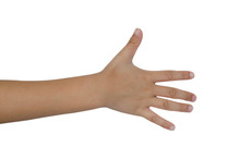 Child Hand On White Background