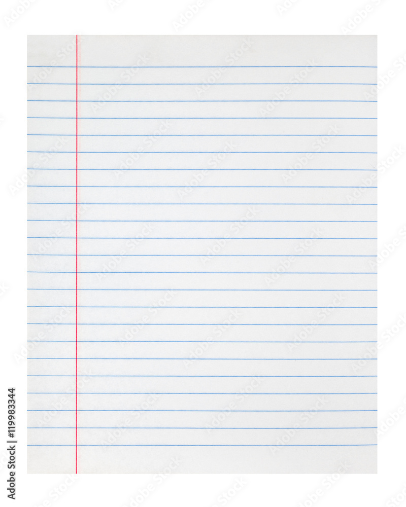 Fototapeta lined notebook paper sheet with left margin
