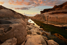 Sampanbok Natural Stone Park The Grand-canyon In Meakhong River On During Sunrise,Ubonratchathani Thailand