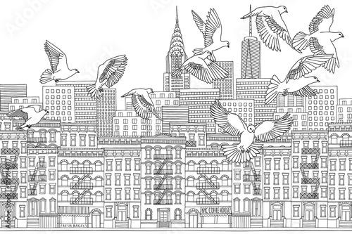 In de dag Art Studio New York City - hand drawn black and white cityscape with birds