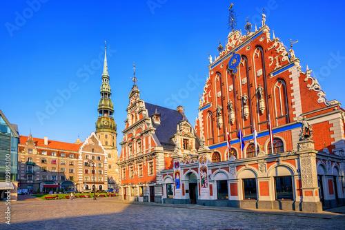 Obraz na plátně Blackheads house in the old town of Riga, Latvia