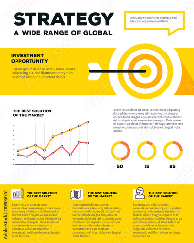 Vector corporate business template infographic with target, line Wallpaper Mural