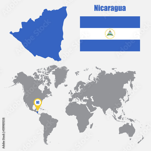 Nicaragua Location On World Map.Nicaragua Map On A World Map With Flag And Map Pointer Vector