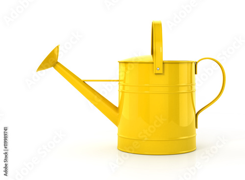 Yellow watering can isolated on a white background. 3d illustrat Fototapeta