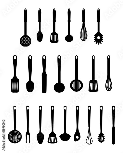 Fotografía  Black kitchen utensils isolated, vector