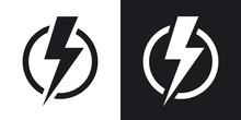Lightning Bolt Icon, Vector. T...