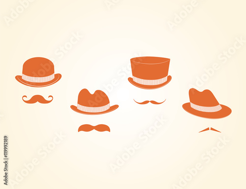 Photo Vector Collection of Vintage Hats And Mustaches