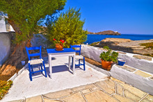 Traditional Blue Table And Chairs At Sifnos Island Cyclades Greece