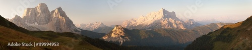 Poster Lichtroze Morning panoramic view of mount Civetta and Mount Pelmo