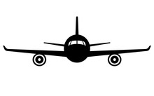 Airplane Icon. Front View Flyi...