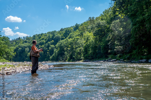 Poster Peche Man Fishing in a River