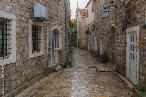 Printed kitchen splashbacks Narrow alley Old town street of Budva, Montenegro.
