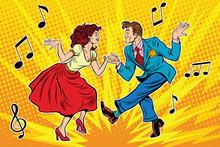 Couple Man And Woman Dancing, Vintage Dance