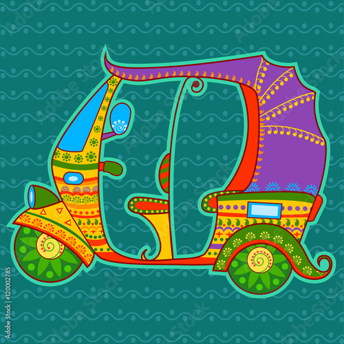 Fotografering  Auto rickshaw in Indian art style
