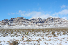 Nevada Mountains Along Highway 15. Snow Capped Mountain Tops As Seen Along US Interstate 15, Between Jean And Primm, Nevada. Shot The Morning After A Rare Blizzard Hit The Area December, 18, 2008.