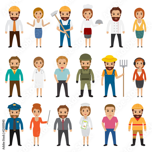 Photo  People occupation characters set in flat style isolated on white background