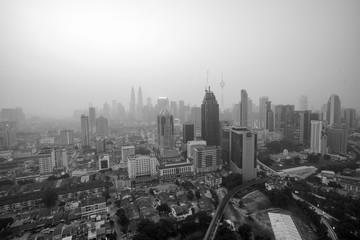 Malaysia - March 5: View of Kuala Lumpur city during bad haze ,
