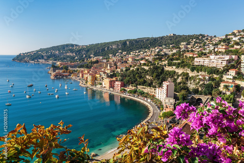 Poster Nice Panoramic view of Cote d'Azur near the town of Villefranche-sur-