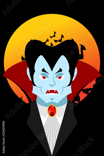 Fotografie, Obraz  Count Dracula and moon. Evil vampire. Aggressive ghoul. Poster f