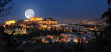 Vollmond über Der Akropolis U...