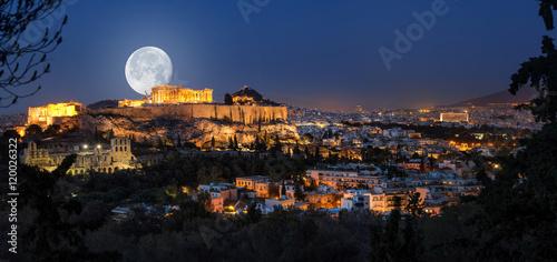 Foto op Plexiglas Athene Vollmond über der Akropolis und Athen