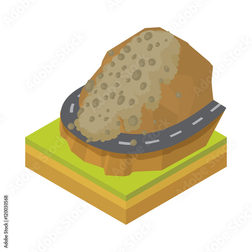 Fotografie, Obraz  Rockfall icon in cartoon style on a white background vector illustration