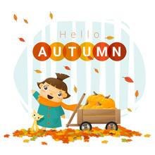 Hello Autumn Background With Little Girl , Vector , Illustration