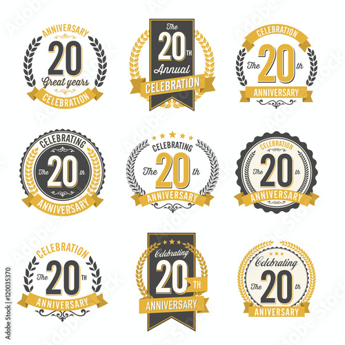 Photo  Set of Vintage Anniversary Badges 20th Year Celebration