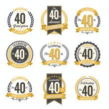Set Of Vintage Anniversary Badges 40th Year Celebration
