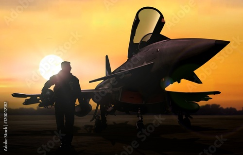 Poster  Military pilot and aircraft at airfield on mission standby
