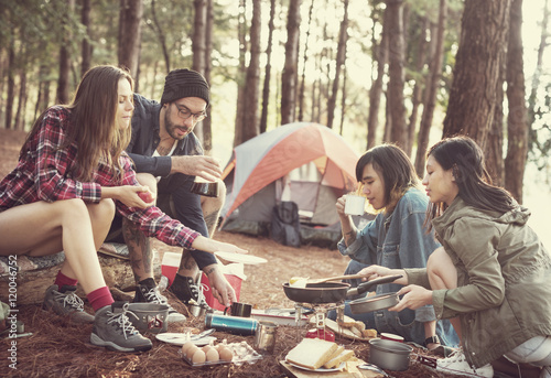 Poster Camping People Friendship Hangout Traveling Destination Camping Concept