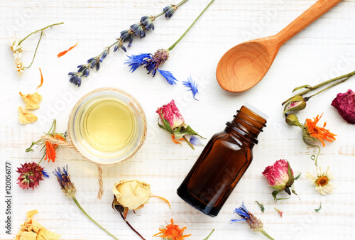 Photo  Essential oil, medicinal plant mix, herbal skincare ingredients