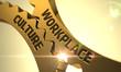 Leinwanddruck Bild - Workplace Culture Concept. Golden Cogwheels. 3D Render.
