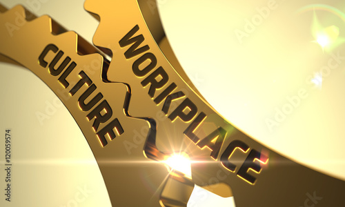 Fotografiet  Workplace Culture Concept. Golden Cogwheels. 3D Render.
