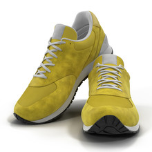Yellow Sneakers On White 3D Illustration