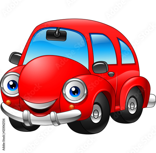 Spoed Foto op Canvas Cartoon cars Cartoon funny red car