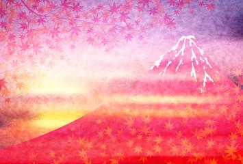 Obraz na Szkle 富士山 紅葉 風景 背景