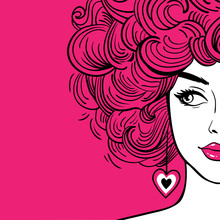 Sexy Woman With Pink Curly Hair And Pink Lips Loking To The Side. Vector Hand Drawn Background In Pop Art Retro Comic Style.
