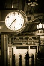 Clock At Japanese Train Station Old Vintage Color Tone.