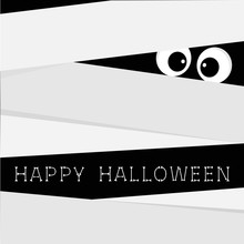 Mummy Zombie Bandage And Big Eyes. Egypt Monster. Happy Halloween Bones Text. Cute Cartoon Character. Scary Boo Greeting Card. Flat Design.