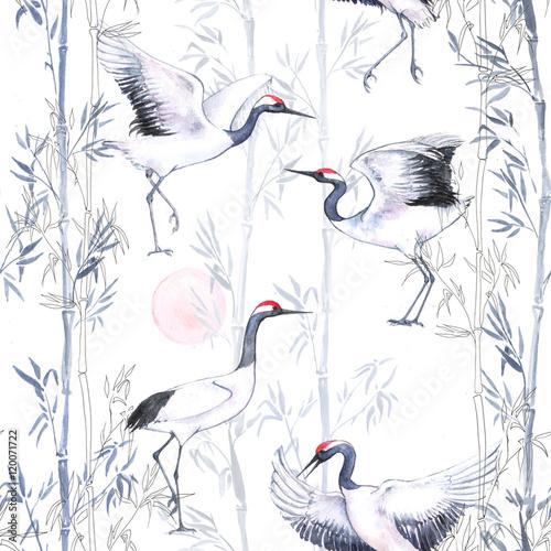 recznie-rysowane-akwarela-bezszwowe-wzor-z-biale-japonskie-taniec-zurawie-powtarzajace