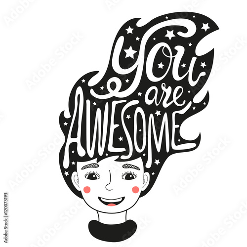 Photo  Vector illustration with long hair woman and lettering text - You are awesome
