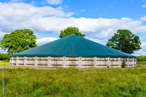 After chamber for anaerobic digestion where solids are stored to cool down before being spread as fertilizer on the farmland Canvas Print