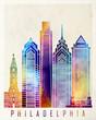 Philadelphia landmarks watercolor poster