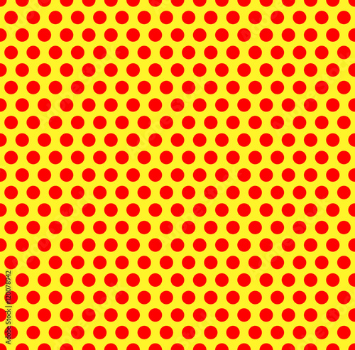 Dotted repeatable popart like duotone pattern. Speckled red yell Canvas Print