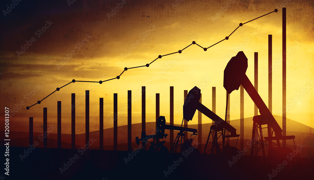 Fototapety, obrazy: 3d illustration of oil pump jacks on sunset sky background. Concept of growing oil prices