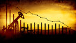3d illustration of oil pump jacks on sunset sky background with financial analytics. Concept of falling oil prices