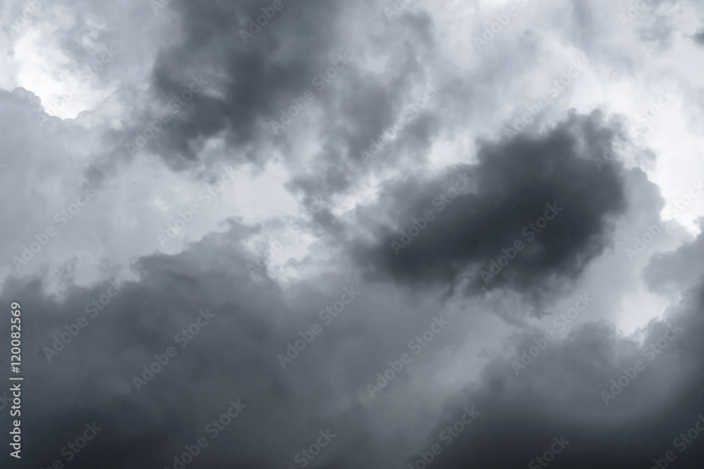 28edfe989 Fotografie, Obraz Background of dark clouds before a thunder-storm / Blue  rainy clouds / dark clouds in ...