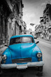 Old car on street in Havana,Cuba with black and white