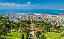 View Over The Bahai Gardens In Haifa